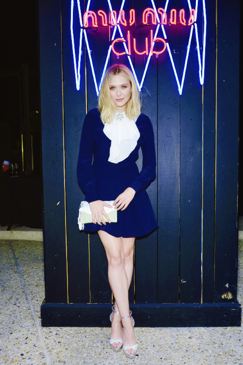 881600be5862 Elizabeth Olsen attends a cocktail during Miu Miu Club - Launch Of the  First Miu Miu Fragrance And Croisiere 2016 Collection at Palais d Iena on  July 4
