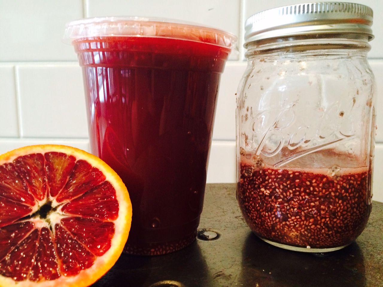 Bloody pom ザクロ infused chia, ブラッドオレンジ、ライム