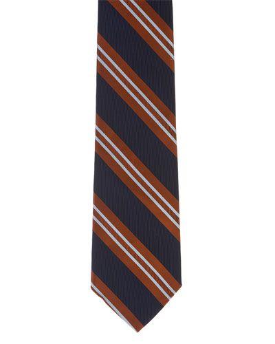 Brooks Brothers Navy & Orange Stripe Silk Tie