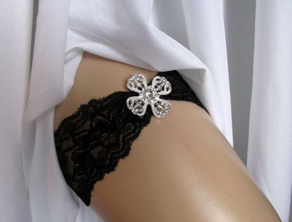 Black Lace Bridal Garter Crystal Rhinestone Wedding Keepsake Or Toss Heirloom Bridesmaids Garters