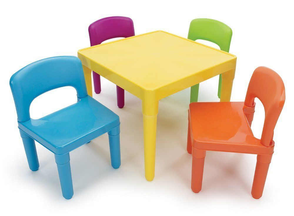 Kids table and 4 chair set children daycare child activity furniture plastic tottutors for Plastic home furniture