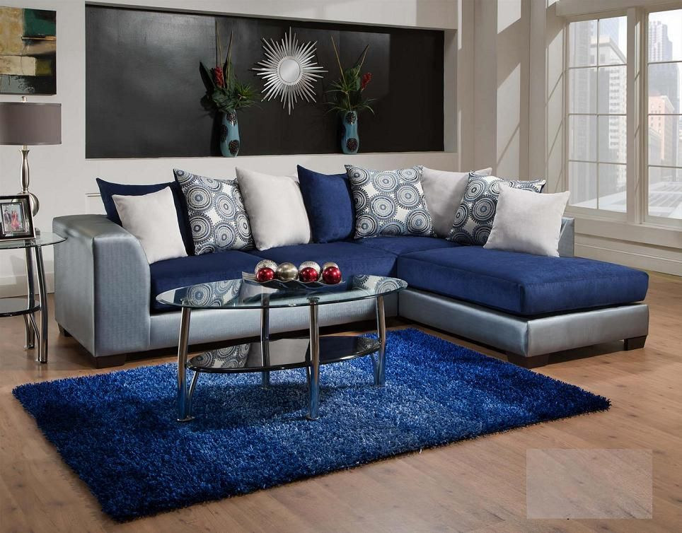 835 06 royal blue living room only living room - Grey and blue living room furniture ...