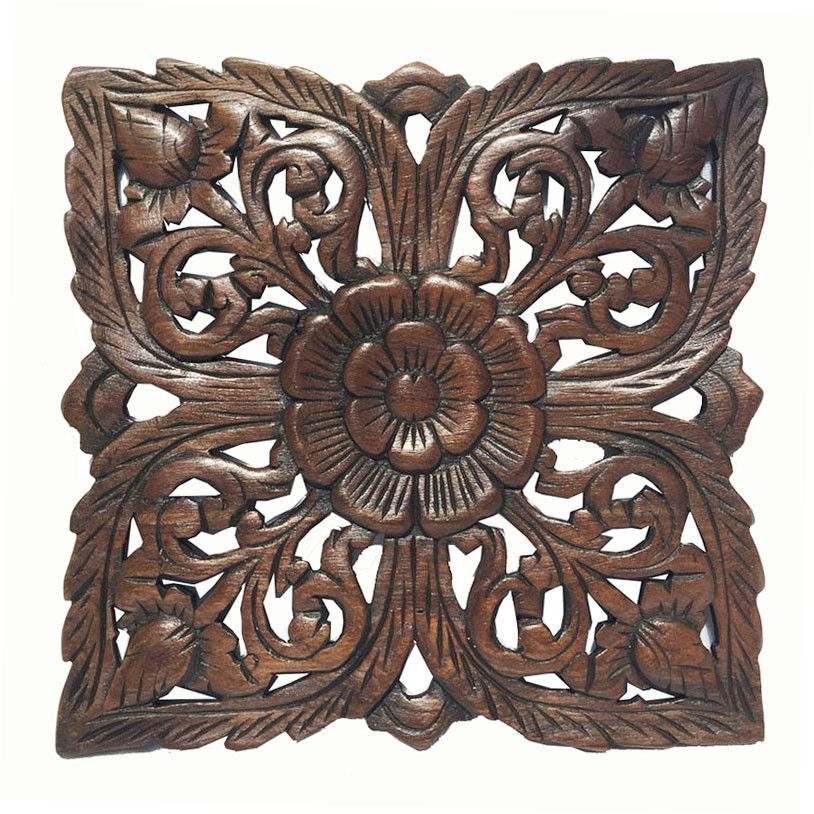 Wood Plaque Oriental Carved Lotus. Square Rustic Wall Decor. Hand Carved Wall  Art Decor