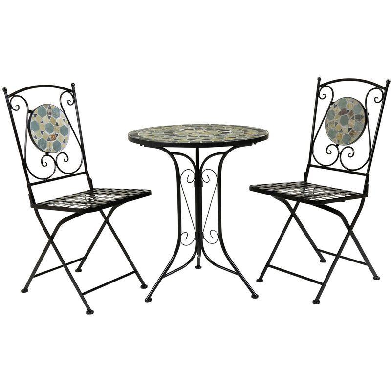 Salon De Jardin Table Et 2 Chaises Mosaique Fer Forge