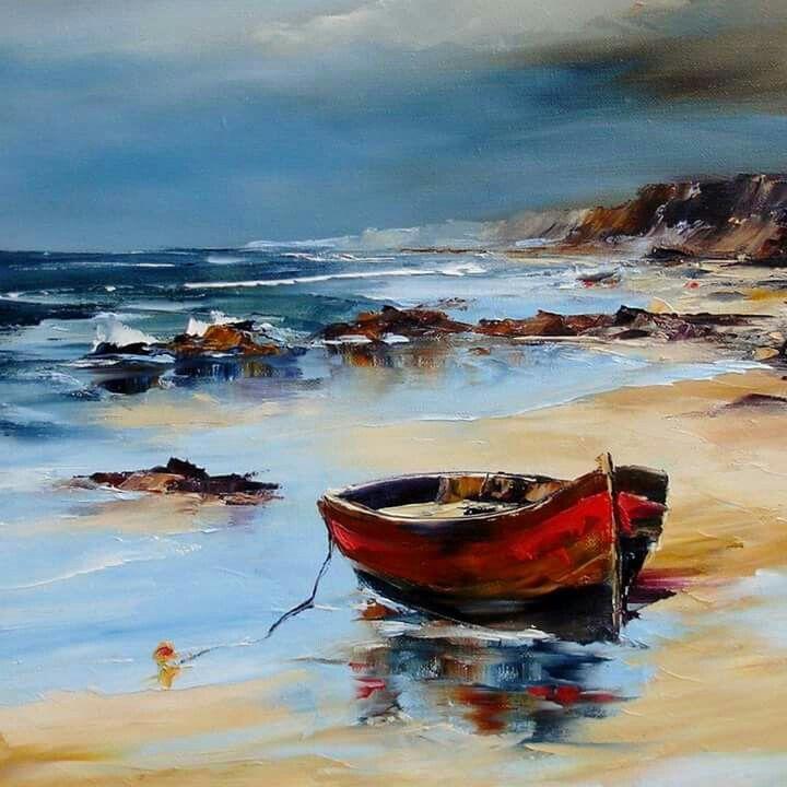 Denis Cheret Beach Painting Boat Art Seascape Paintings