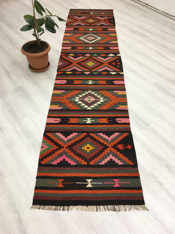 Hot Pink Orange Colors Vintage Oriental Turkish Kilim Runner Hallway Decor Tribal Runner Rug Kitchen Runner Stairway Rug 2 8 X11 8 By Th Rug Runner Rugs Kilim