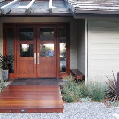 Wooden Deck Entrance Sets Off Front Door Front Porch Makeover Modern Exterior Doors Modern Exterior