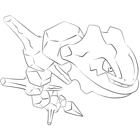 Steelix Coloring page LineArt Generation
