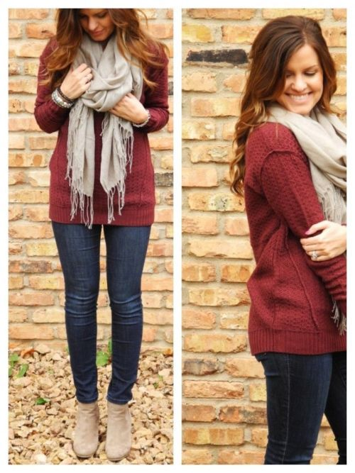 41e6acd2a97 maroon-sweater-grey-scarf-outfit- Fall burgundy outfit ideas http