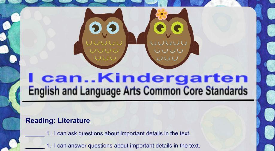 Cute kindergarten i can ela common core statements http