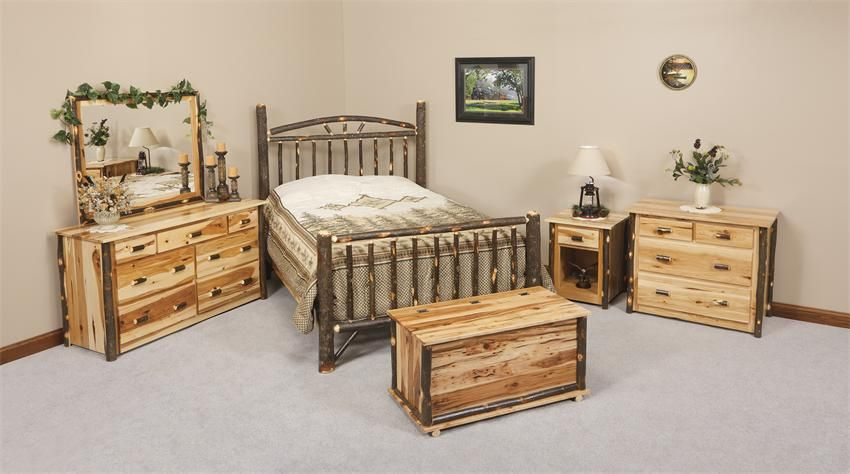 Amish Rustic Cabin Hickory Wood Wagon Wheel Bedroom Furniture Set