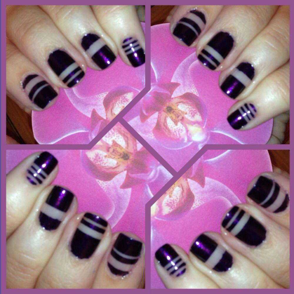Concrete And Nail Polish Striped Nail Art: #nails #nail_art #manicure #design #stripes #purple