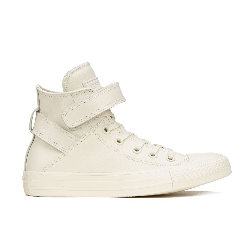 aef43c3bbc40 Converse Women s Chuck Taylor All Star Brea Leather Hi-Top Trainers -  Parchment White