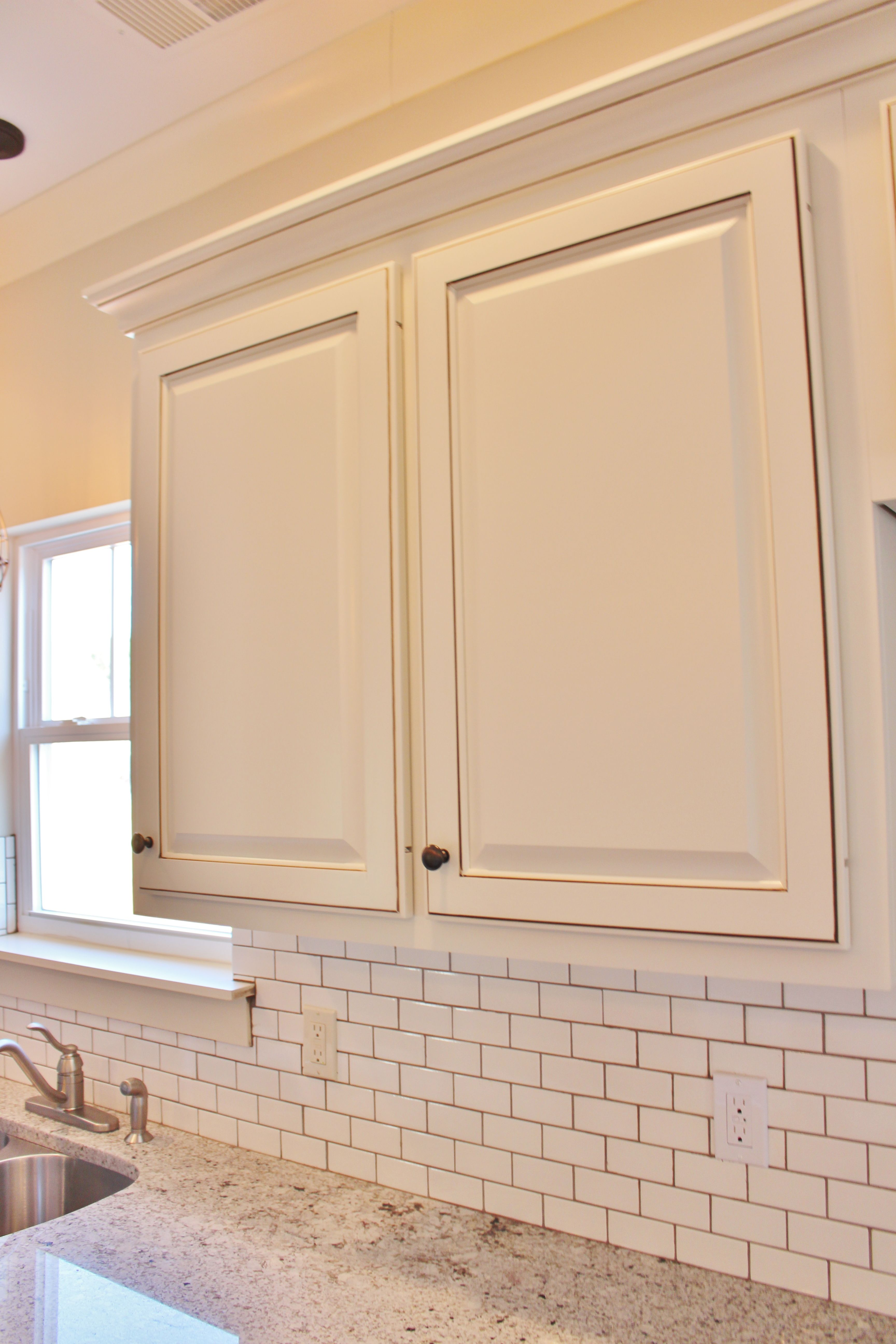 Painted Custom Cabinets White Subway Tile With Mocha Brown Grout