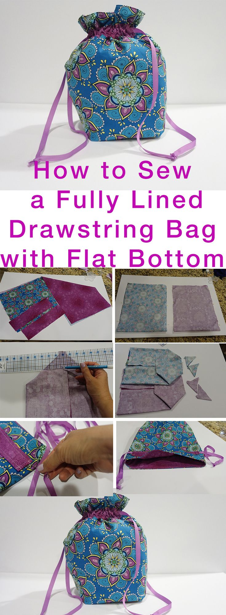 Jan 4 How to Sew Fully Lined, Flat Bottomed, Drawstring Bag FREE ...
