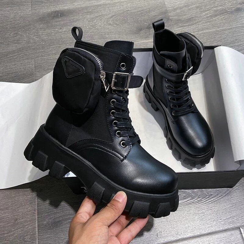 Details about  /Womens Punk Ankle Boots Ladies High Block Heels Buckle Lace Up Shoes 41 42 43 D