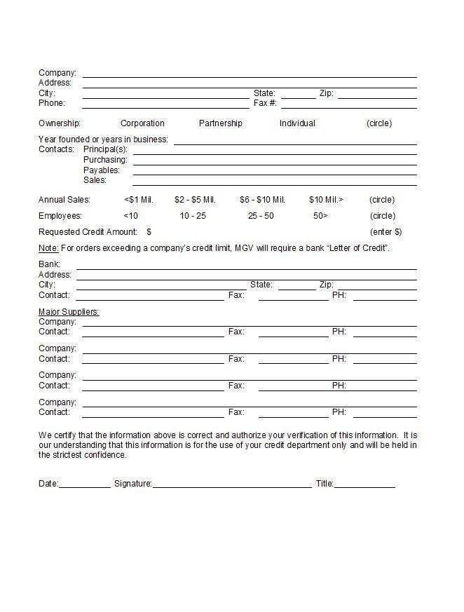 Credit Application Form 28 Krediet applikasies Pinterest Free