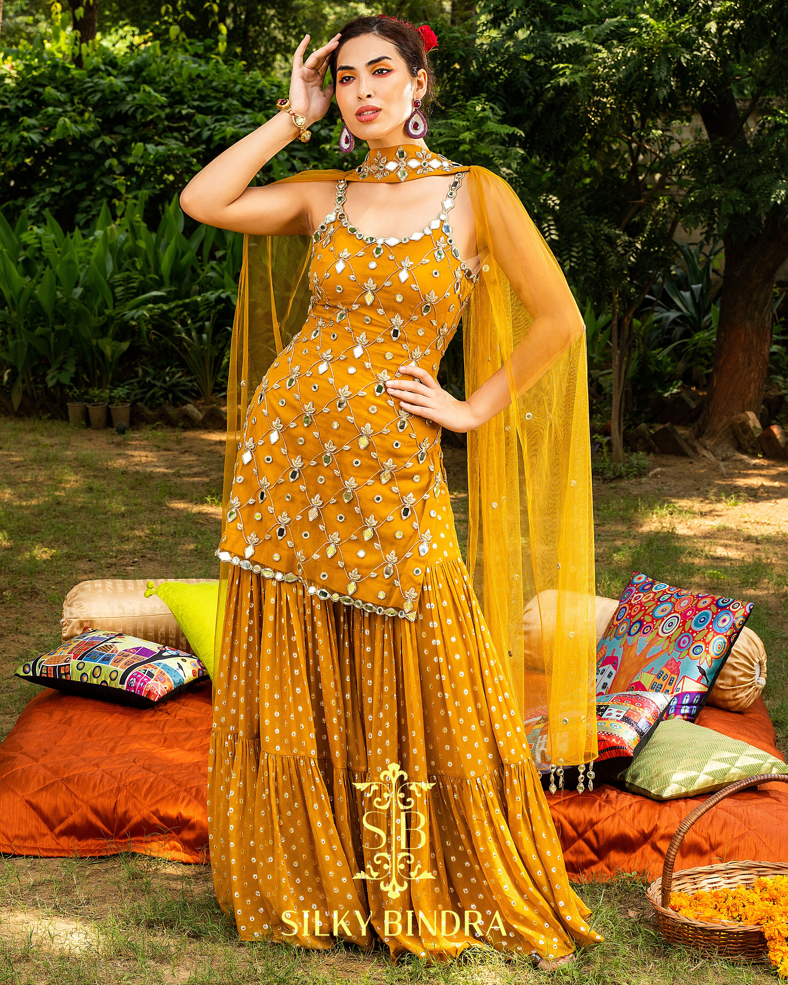 Details about  / Women Pakistani Salwar Kameez Set Yellow Embroiery Kurta Sharara Stitched Suit
