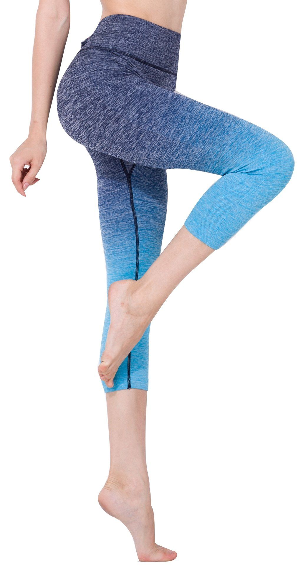 443ea9a8688fed Amazon.com: Bonas Women's Ombre 3/4 Tights Capri Yoga Sport Workout Leggings  Pants & Bra Set: Sports & Outdoors