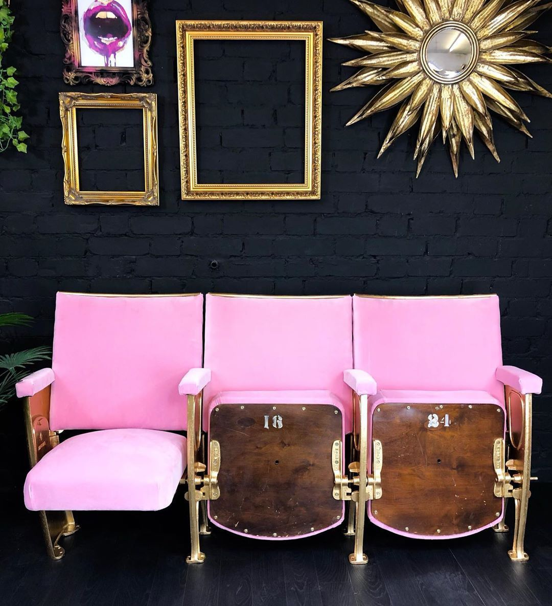 Theatre /stadium seats upholstered in pink!! Lovely #mediarooms Theatre /stadium seats upholstered in pink!! Lovely #mediarooms