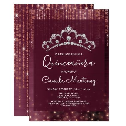 Rose Gold and Burgundy Quinceanera with Tiara Invi