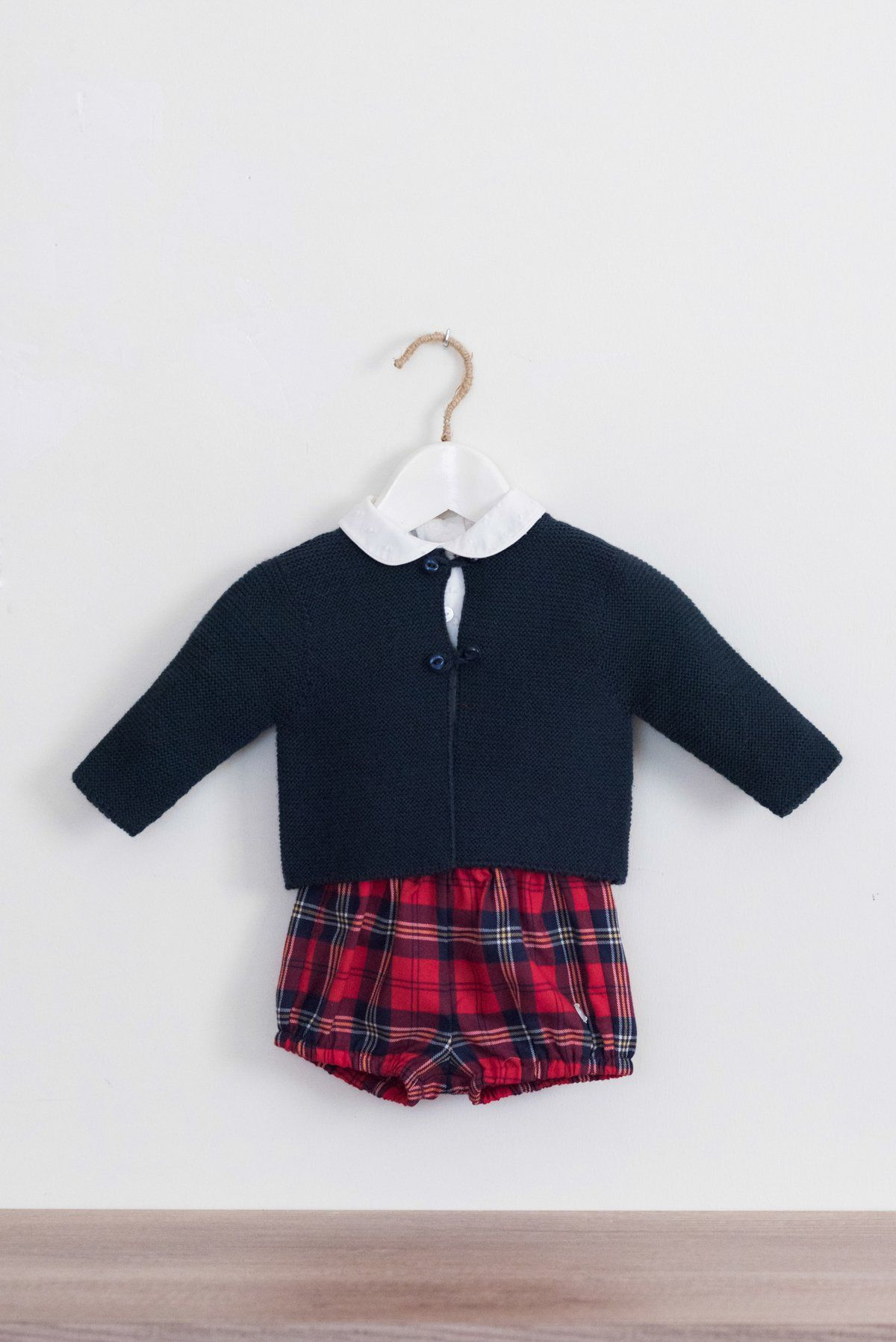 d4ac99bf Dolce Petit Baby Boys Three-Piece Set With White Shirt With Peter Pan Collar,  Removable Red Tartan Braces And Shorts That Are Fully Lined With An ...
