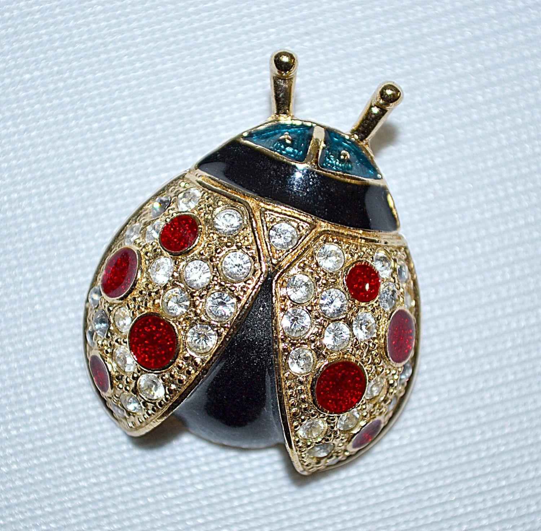 Vintage Gold Tone Black Red Enameled Rhinestone Lady Bug Brooch ROMAN by DodiesDrawer on Etsy
