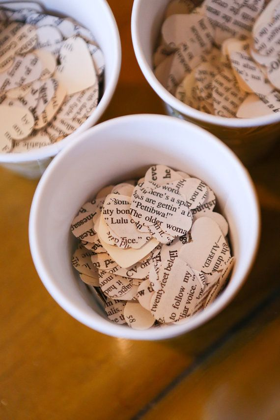 Book Page Heart Confetti 160pcs by BookCraft on Etsy