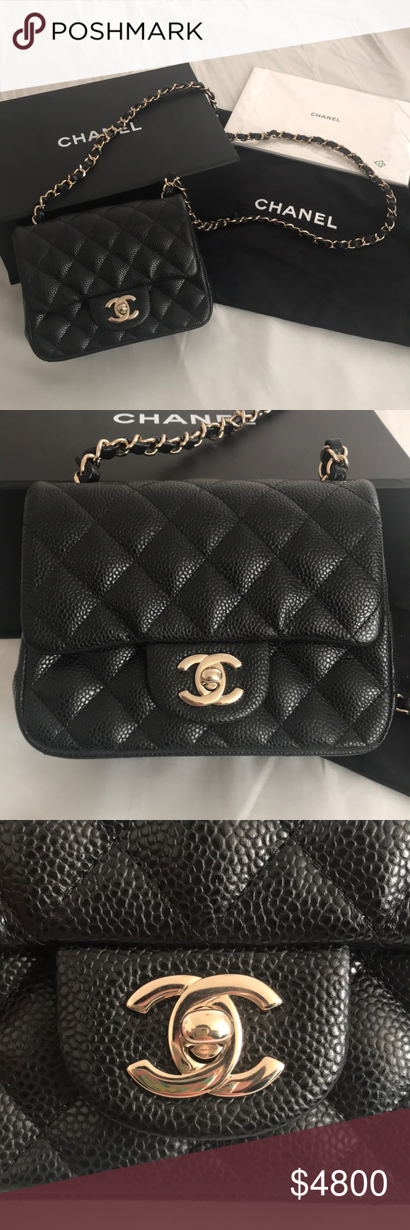 ecaa8194b9a78b CHANEL Mini Square Flap in Black Caviar 100% authentic and BRAND NEW Chanel  Mini Square
