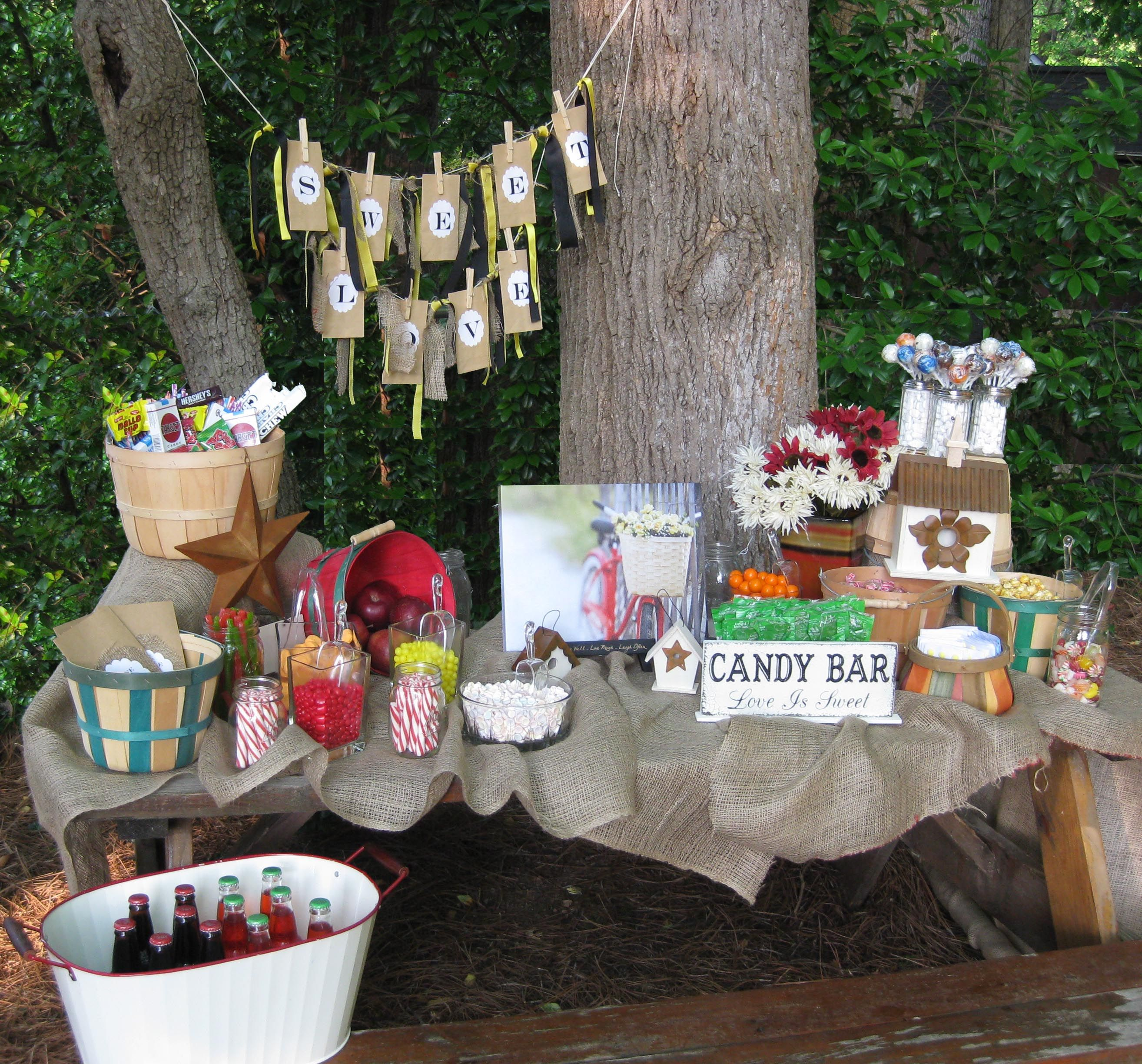 Outdoor Wedding Reception Ideas For Summer: Rustic Candy Buffet, Rustic