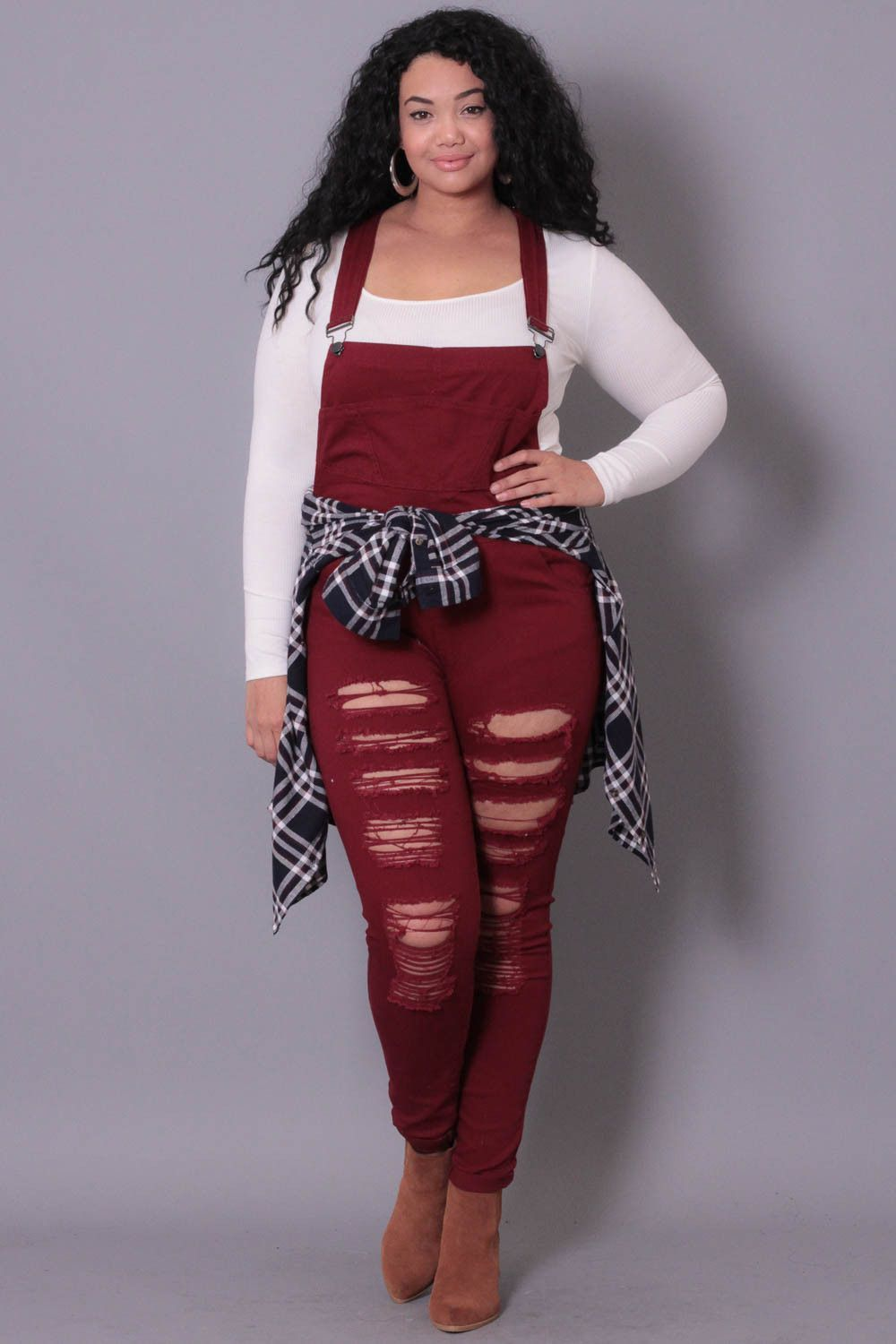 plus size destroyed overall - burgundy | perfect | pinterest