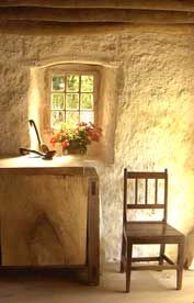 window interior of an old stone cottage