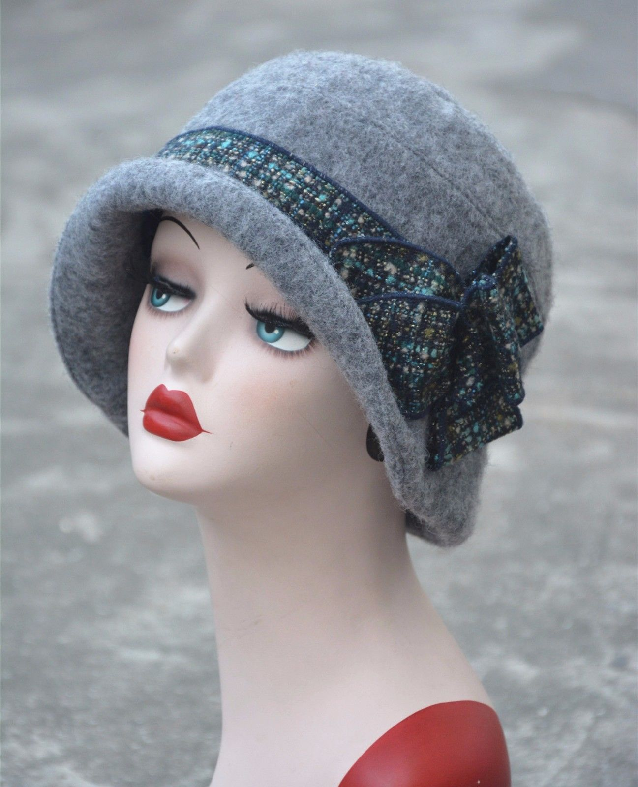 18976900e Womens Gatsby 1920s Vintage style Flapper Cloche Downtown Abbey Wool ...