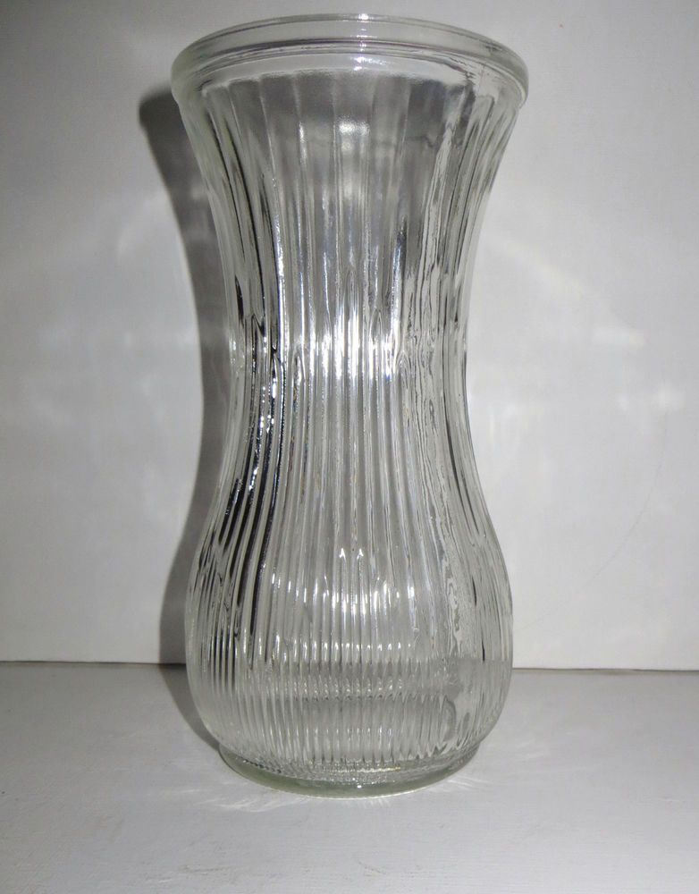 Vintage Hoosier Clear Glass Ribbed Vase 4086 A 3b 8 58 X 4 16