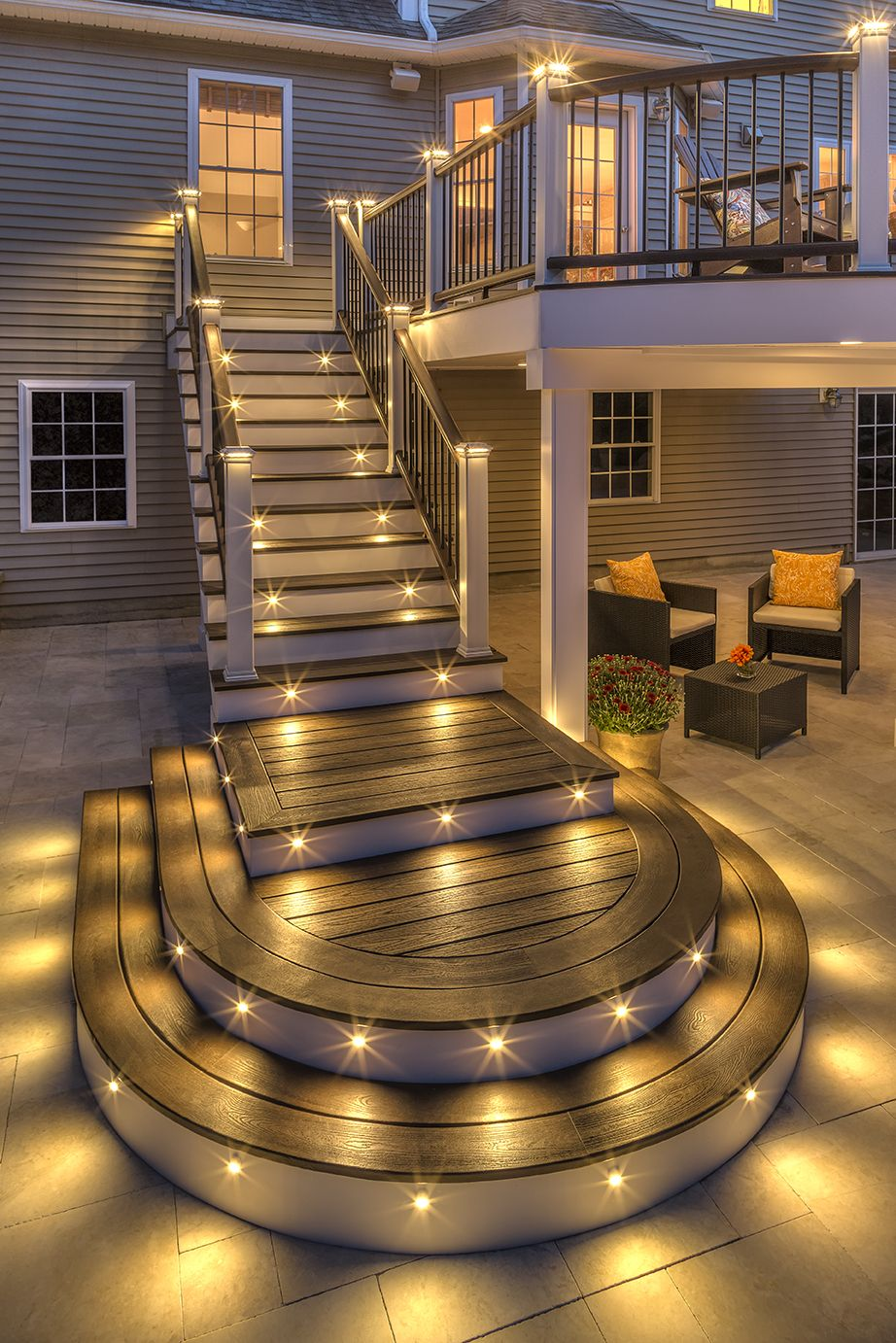 Party Long Into The Night With Trex Outdoor Lighting Our Deck Lights And Stair Riser Lights