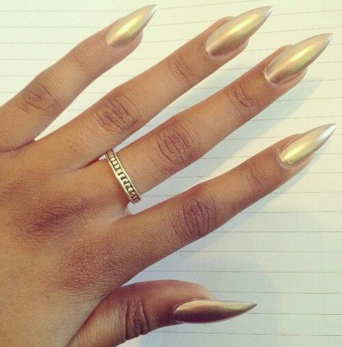 Gold pointy nails