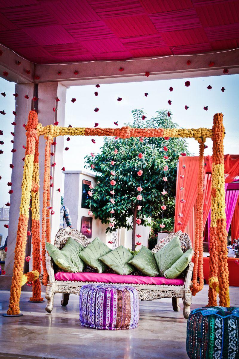 Mehendi jhoola decor with marigolds in 2019