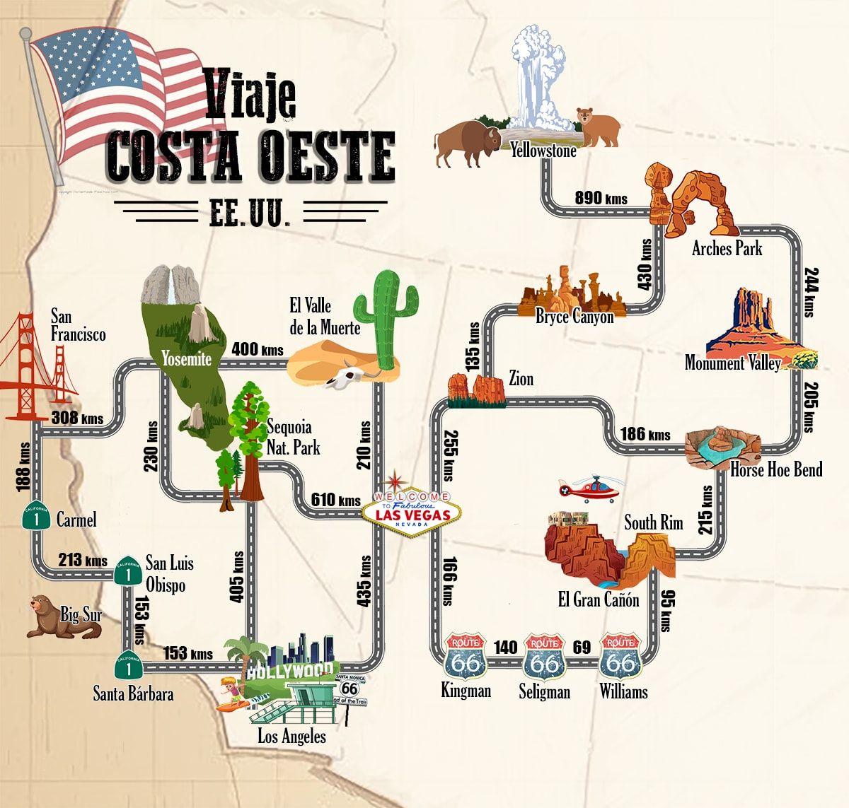 Mapa Eeuu Costa Oeste.Mapa Viaje Costa Oeste Eeuu En 2019 Costa Oeste Viaje A