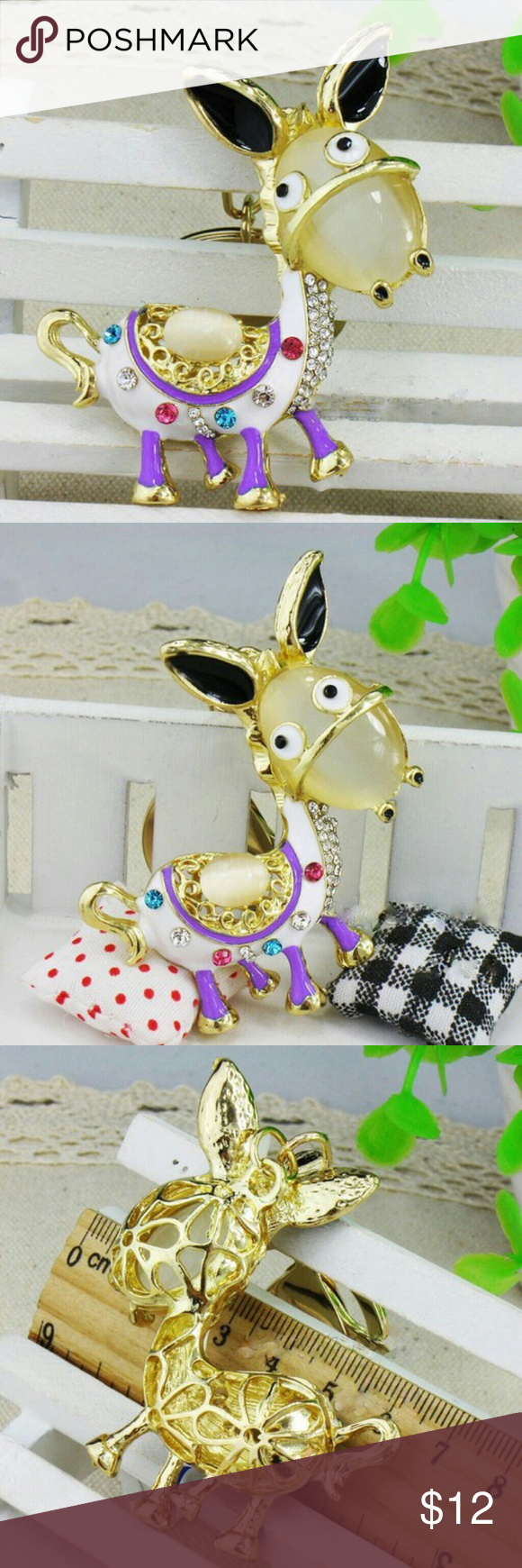 Dominic Donkey rhinestone keychain purse fob. New in it's