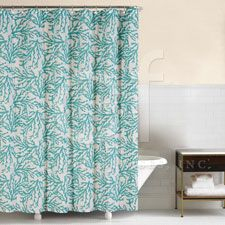 Blue Coral Shower Curtain 72 X Matching Valances Too