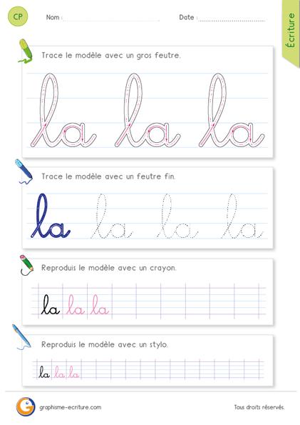 Fiche d\'écriture CP – CE1 : écrire l\'article la en cursive ...