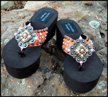 7e3ff429716e Tuscan Cowhide Flip Flops-cowgirl jewelry