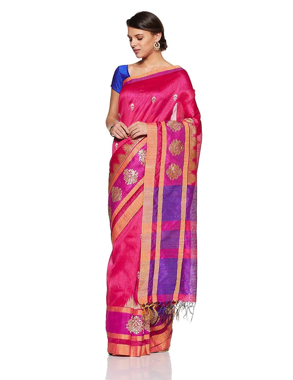 cc3f6c49659ee Aalia Art Silk Embroidered Saree with Blouse piece (8814-Fushia ...