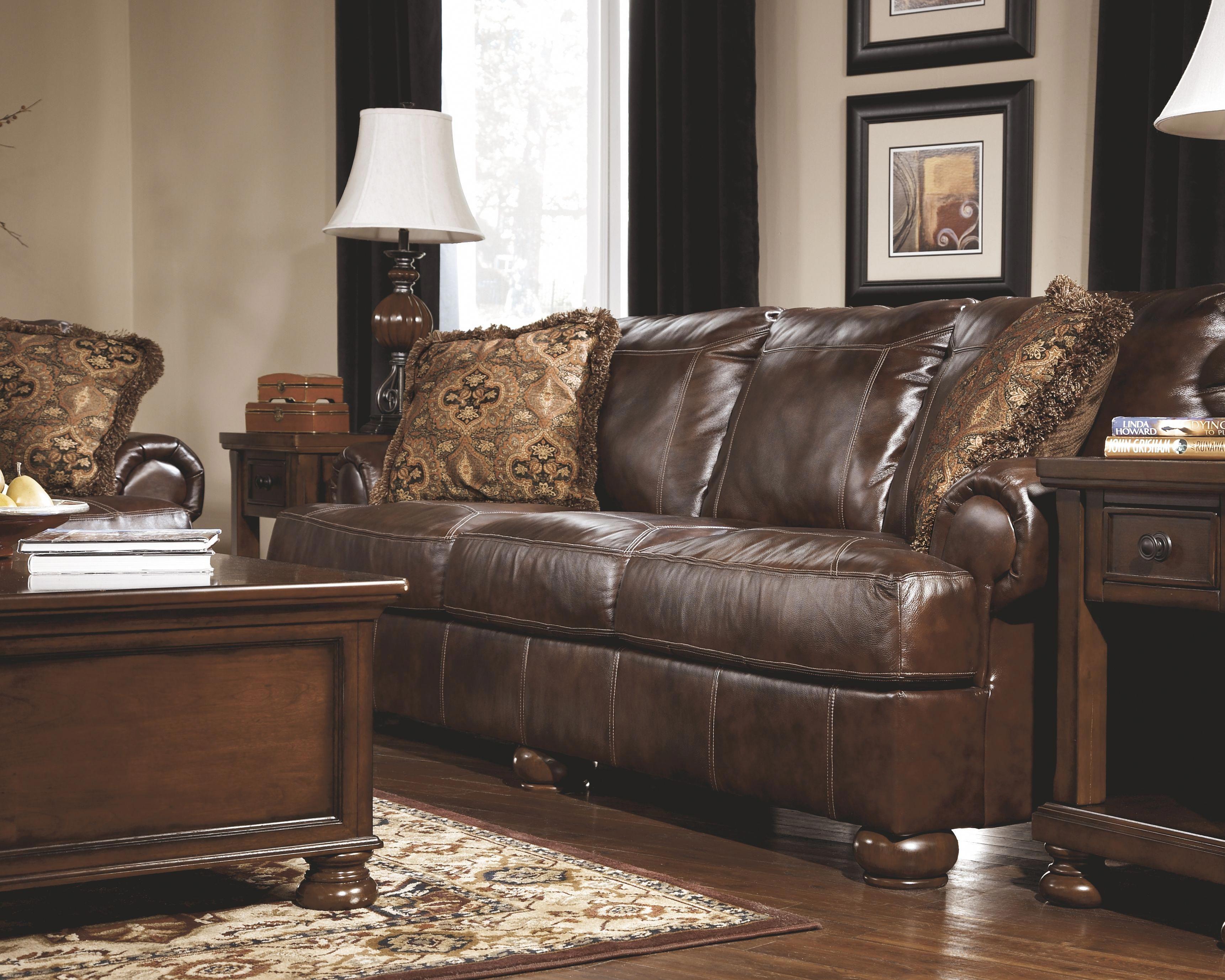 Axiom Sofa Walnut Leather In 2020 Ashley Furniture Furniture