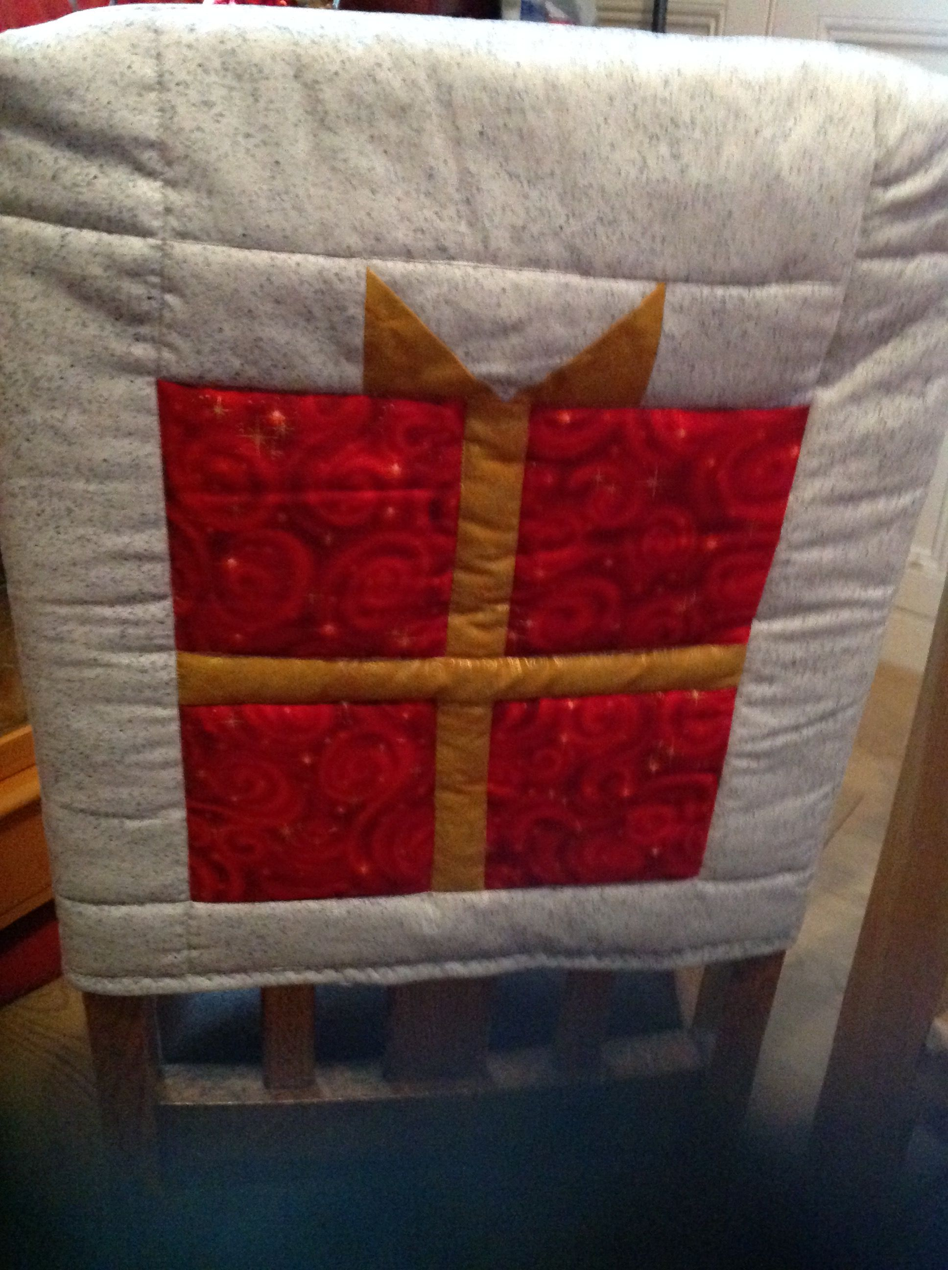 Present Quilt Block Used As Christmas Chair Back Cover Quilts