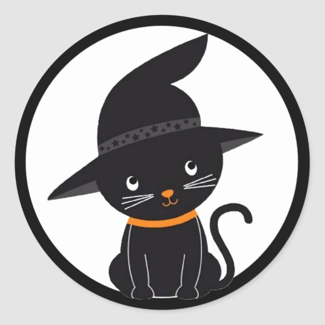 Halloween Black Cat Witch Hat Sticker Zazzle Com Black Cat Halloween Preppy Stickers Witch Hat