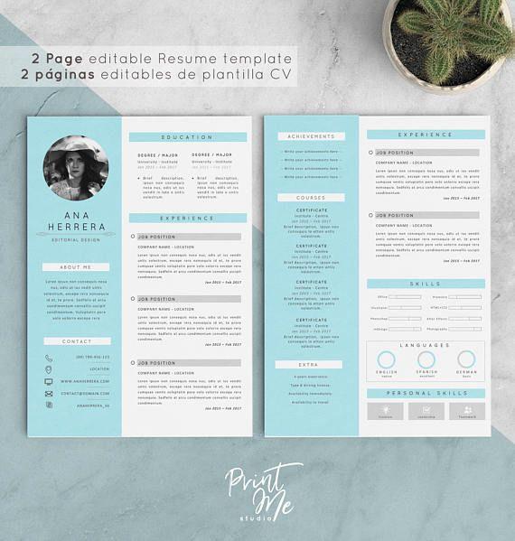 Plantilla Curriculum Vitae | Plantilla CV + Carta de Presentación ...