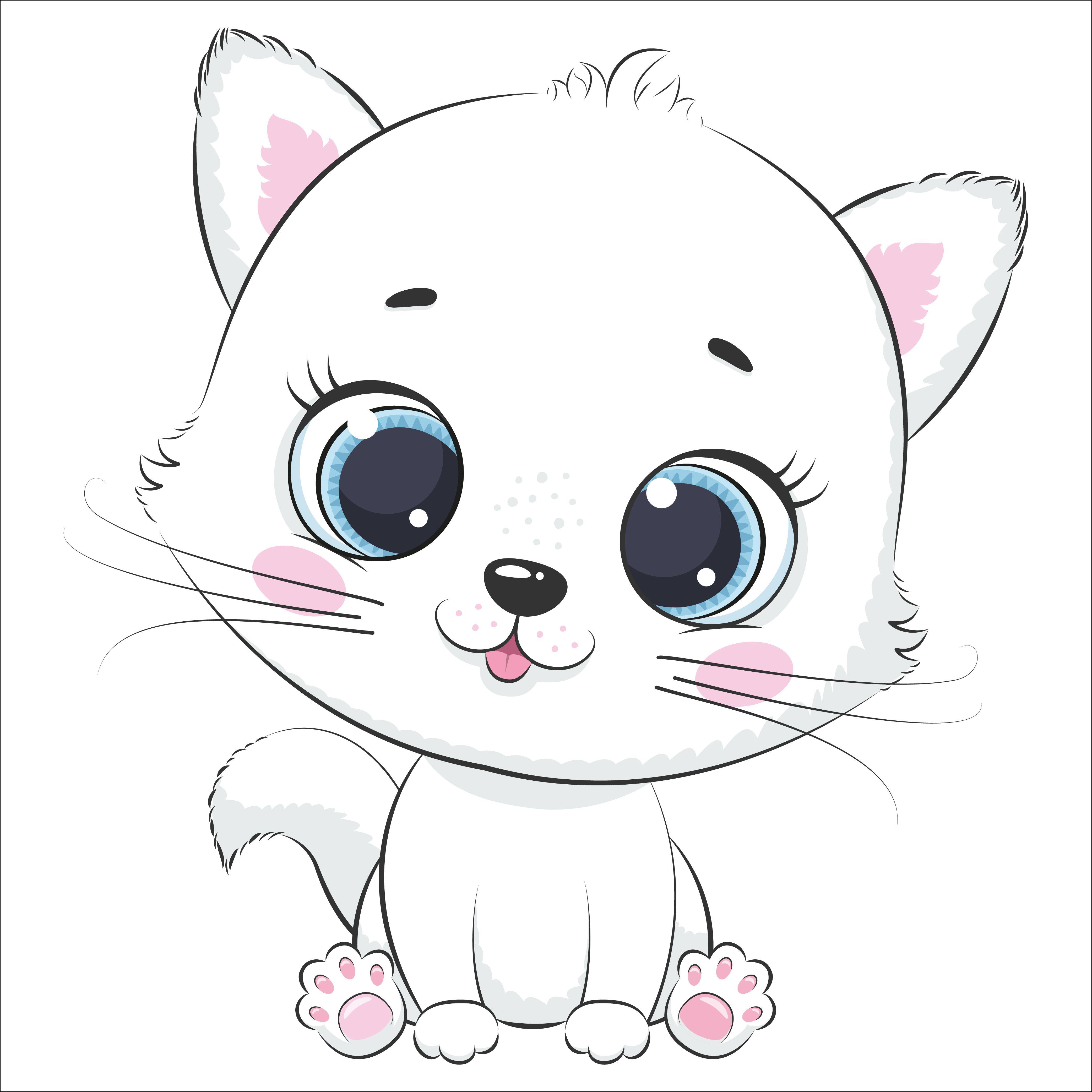 Cute Kitten Clipart Pet Illustration Png Eps Jpg Kids Clipart Baby Animal Drawings Cute Animal Drawings Cute Drawings