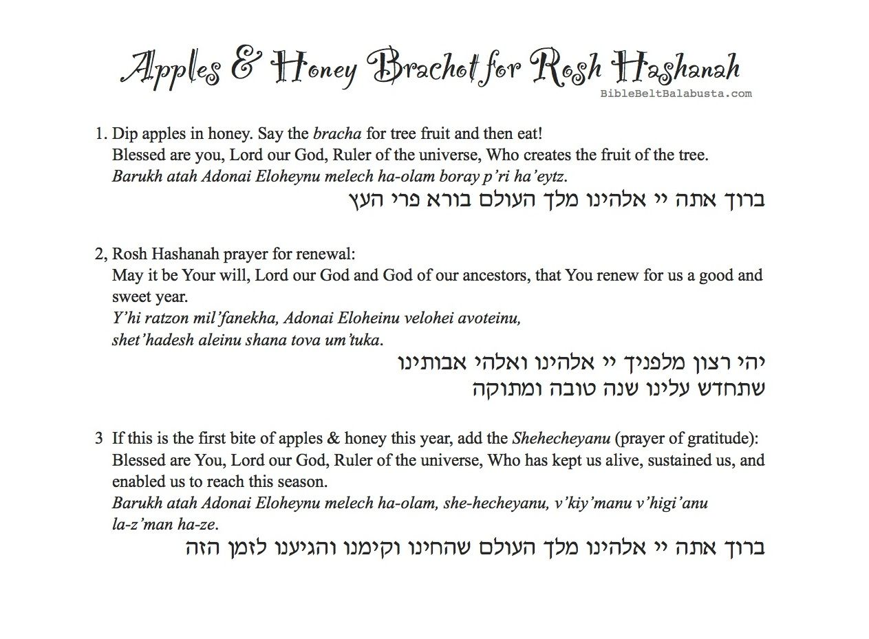 Apple Print Blessings Placemat For Rosh Hashanah With