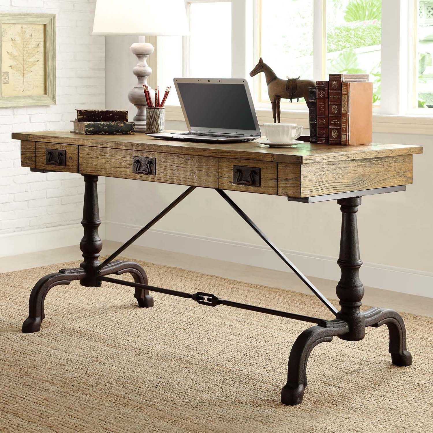 Easy Top Flannery Desk With Antiqued Metal Base Sam S Club
